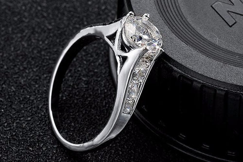 H043LJUR Silver Plated CZ Crystal Ring