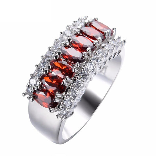 H28HD1A8 10KT White Gold Filled Ruby Vintage Styled Ring