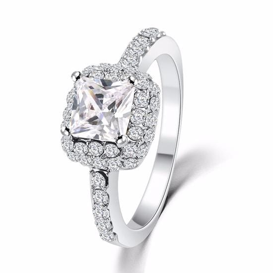 H2XRP0AQ Platinum Plated CZ Crystal Ring