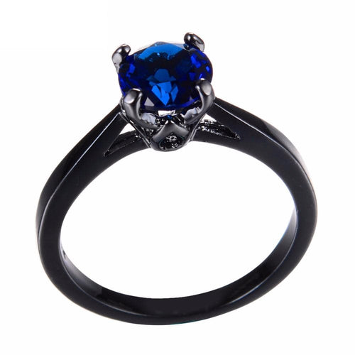 H7C9X3WT Black Gold Filled Sapphire Ring