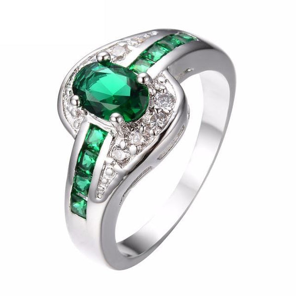 HAMXQC84 White Gold Filled Emerald CZ Ring