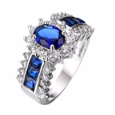 HCB96ALC White Gold Filled Blue Sapphire CZ Ring