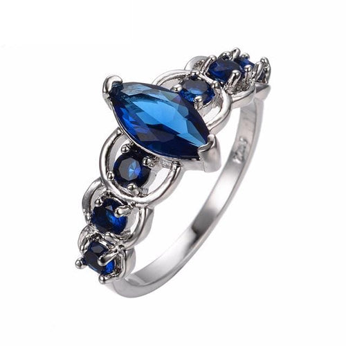 HDJUI00C White Gold Filled Blue Sapphire CZ Ring