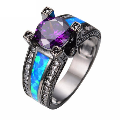 HFPLC7AP Black Gold Filled Blue Opal, Amethyst CZ Ring