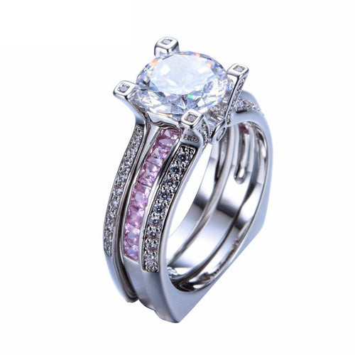 HJ6OXMSE White Gold Filled Pink Sapphire CZ Double Ring Set