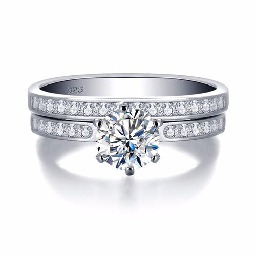HLM8YIUB 925 Sterling Silver Double Band CZ Ring