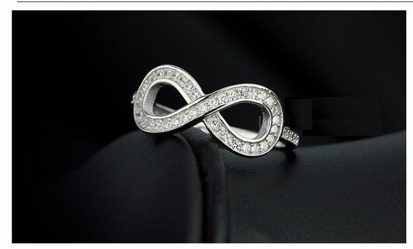 HSQ6Q4C4 925 Sterling Silver Infinity CZ Rings