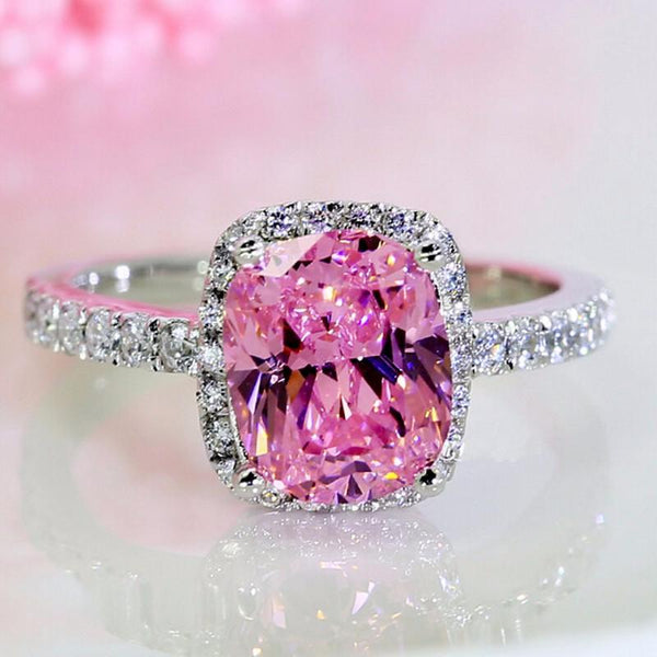 I0SL2TUF Silver Filled Pink Square CZ Crystal Embedded Ring