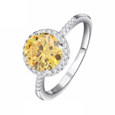 I4ZUAJMO 925 Sterling Silver Charming Yellow Round CZ Ring