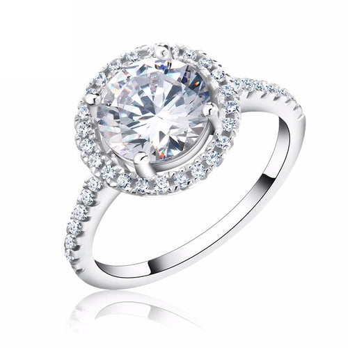 IPOQ0IPL 925 Sterling Silver Round Micro Paved CZ Ring