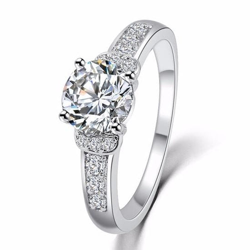 IS8MQNAD Platinum Plated Micro Crystal CZ Ring