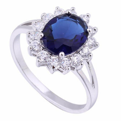 ISB6UZWE Silver Plated Flower Sapphire CZ Ring
