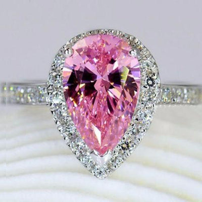 IV56TX74 Silver Filled Teardrop Pink Sapphire CZ Crystal Embedded Ring