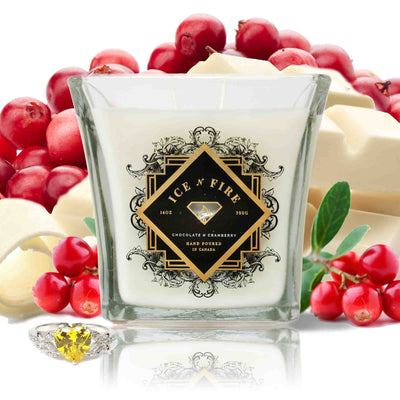 Chocolate N Cranberry Sterling Ring Soy Candle