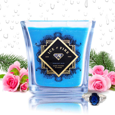 Midnight Rain Sterling Ring Soy Candle