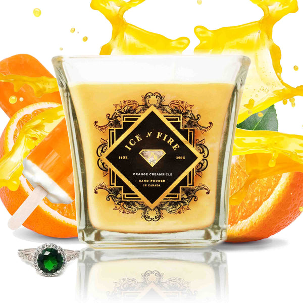Orange Creamsicle Sterling Ring Soy Candle