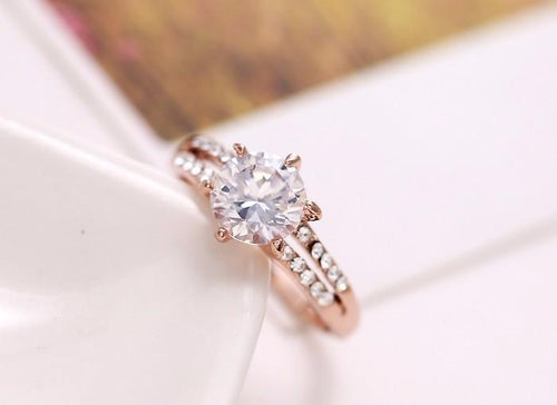 A2SIDDGN Gold Plated CZ Crystal Ring
