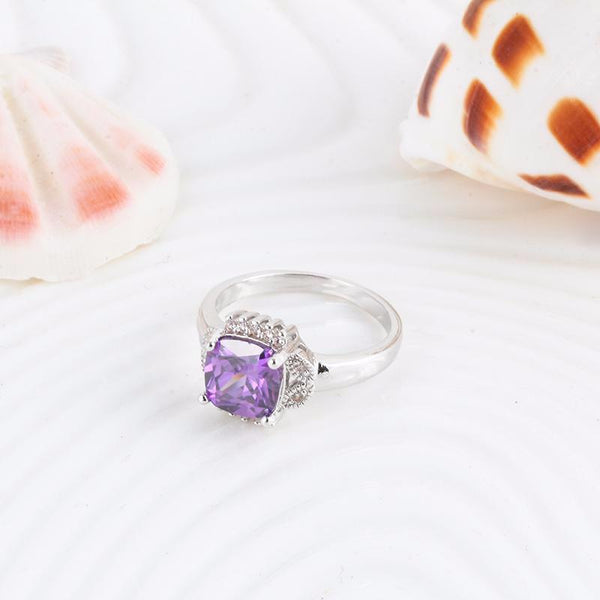 A3MBFUYX Silver Plated Purple CZ Crystal Ring