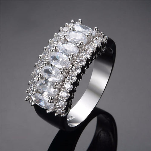 A6K4VQS6 10KT White Gold Filled CZ Vintage Styled Ring