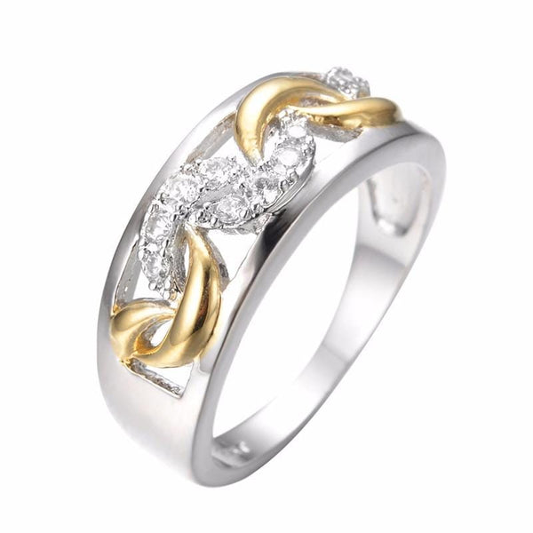 A7TBQE8L White & Yellow Gold Filled Crescent Moon CZ Ring