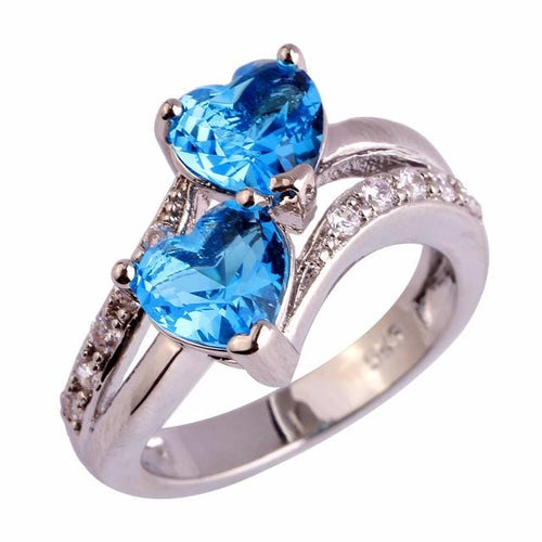 A9J88J4O Silver Plated Blue Topaz Double Heart Ring
