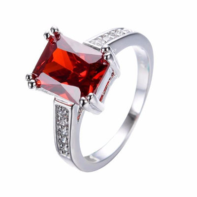 AXEDWPSY 10KT White Gold Filled Vintage Style CZ Ruby Ring
