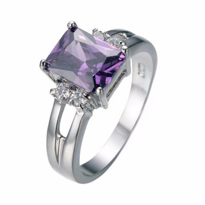 AYG7EBBH 10KT White Gold Filled Round Vintage Style Amethyst Ring