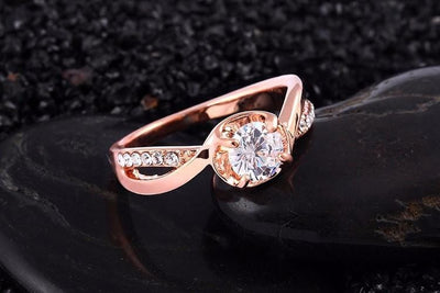 AZRSHNNU Gold Plated CZ Crystal Ring