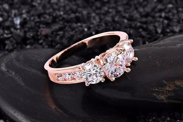 AZX240N7 Gold Plated CZ Crystal Ring