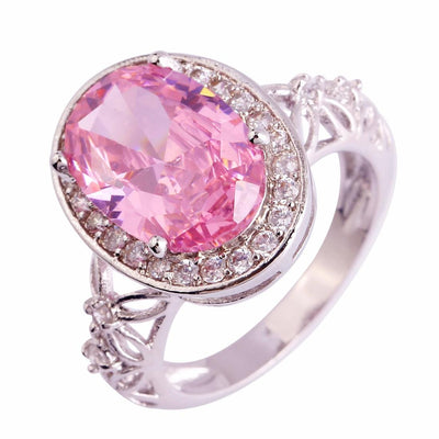 BB3OAMYZ Silver Plated Oval Pink Topaz Ring