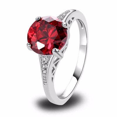 BC785WMP Silver Plated Round Red Garnet Ring