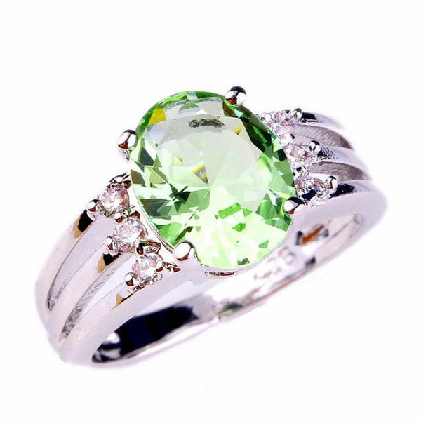 BJV6GMCR Silver Plated Oval Light Green Amethyst Ring