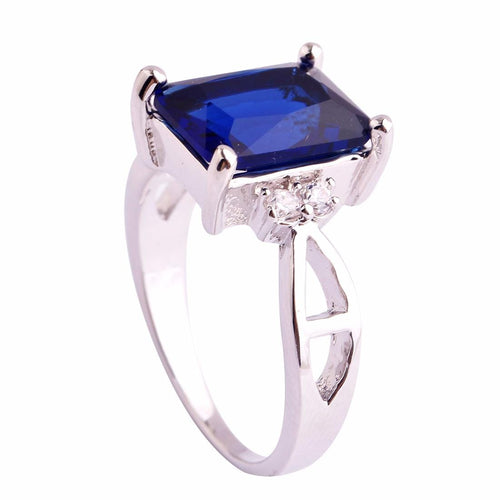 BKKBDYRF Silver Plated Dark Blue Sapphire Quartz Ring