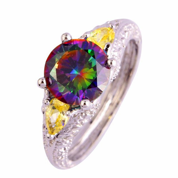 BL7VW20U Silver Plated Multicolor Rainbow Topaz Ring