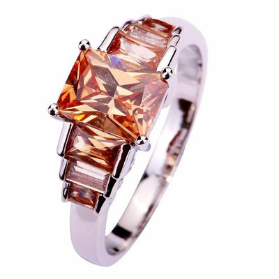 BLZLHMOC Silver Plated Champage Morganite Ring