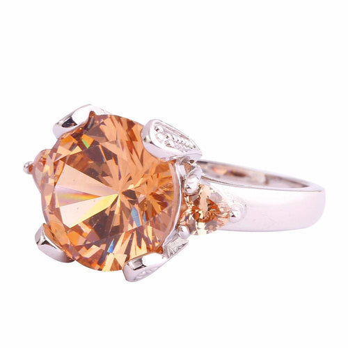 BNU4PX2D Silver Plated Round Champagne Morganite Ring