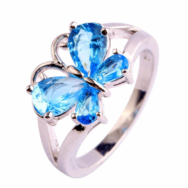 BP9H90AS Silver Plated Blue Topaz Butterfly Ring