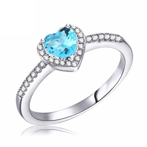 J95KM2BI 925 Sterling Silver Aquamarine Crystal Micro-Paved CZ Ring