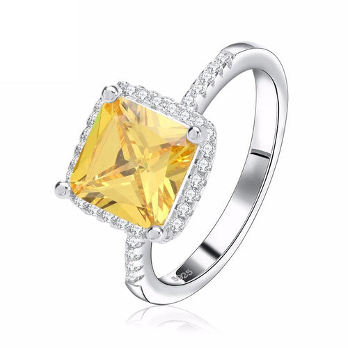 J9PYJEPE 925 Sterling Silver Yellow Citrine Crystal Micro-Paved CZ Ring