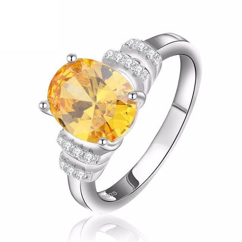 J9QVLA2G 925 Sterling Silver Yellow Citrine Crystal Micro-Paved CZ Ring