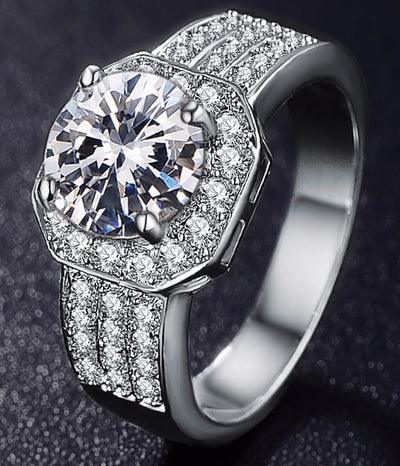 JGDR8DCE Platinum Plated CZ Crystal Ring