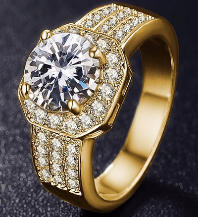 JHCK206T Gold Plated CZ Crystal Ring