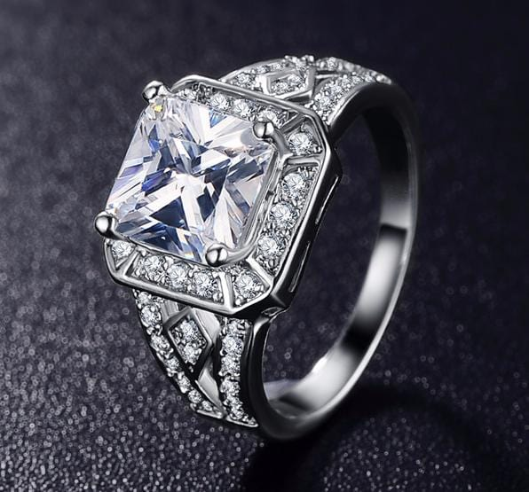 JIYXAQXE Platinum Plated Square CZ Crystal Ring