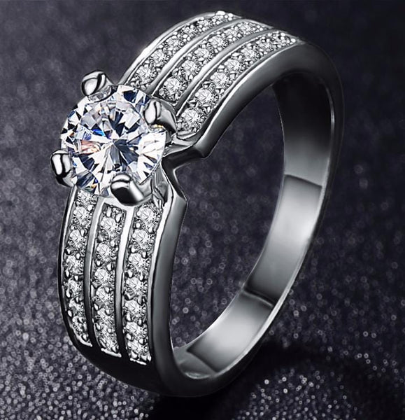 JN41R842 Platinum Plated CZ Ring