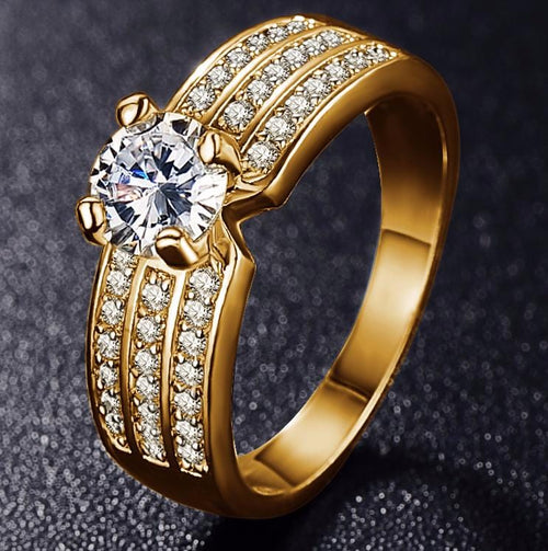 JQAXDJTY Gold Plated CZ Ring