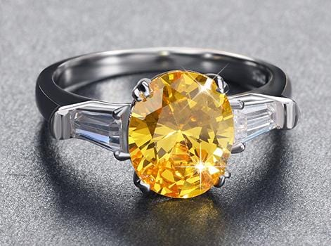JT20FTVK 925 Sterling Silver Round Yellow CZ Ring