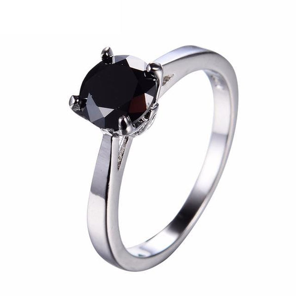 JXT2CSTU White Gold Filled Round Onyx Ring
