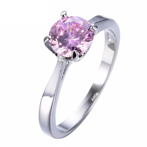 JZ2JOX7Y White Gold Filled Round Pink CZ Ring