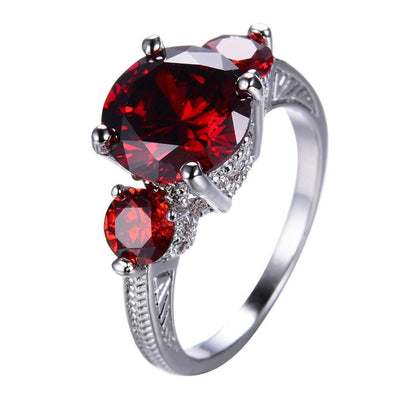 K07BDTB1 10KT White Gold Filled Vintage Round Cut Ruby CZ Ring