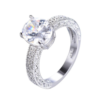 K2ADFWCY 10KT White Gold Filled Heart & Ovel CZ Ring